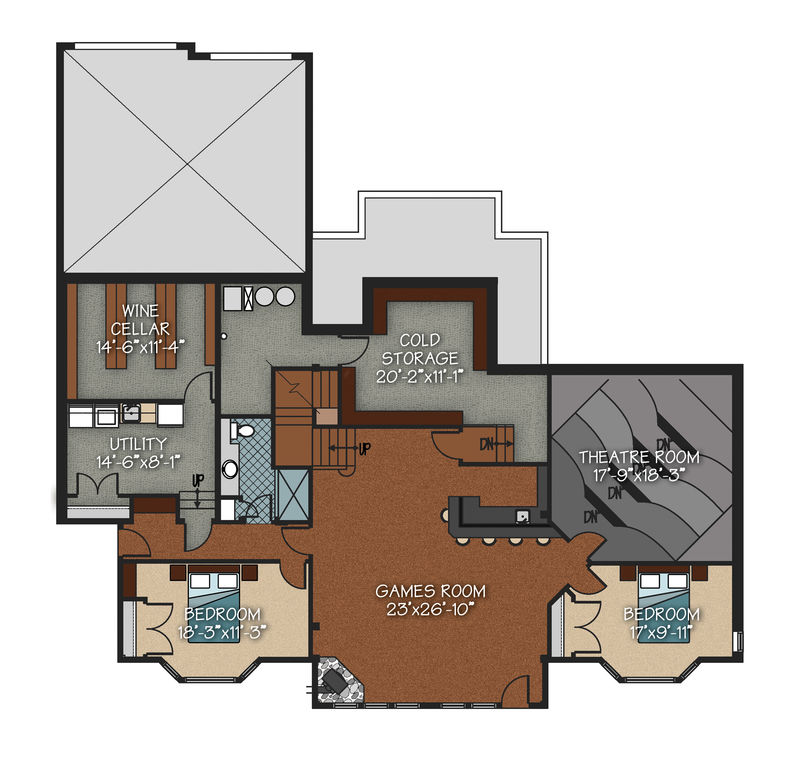 Lower level living space: 2,243 sq. ft. including cold     storage area