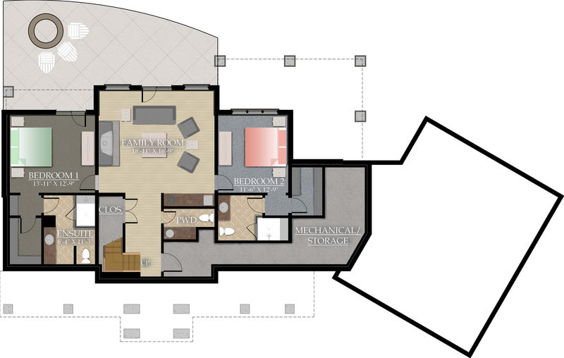 Lower level living space: 1,325 Sq.ft.